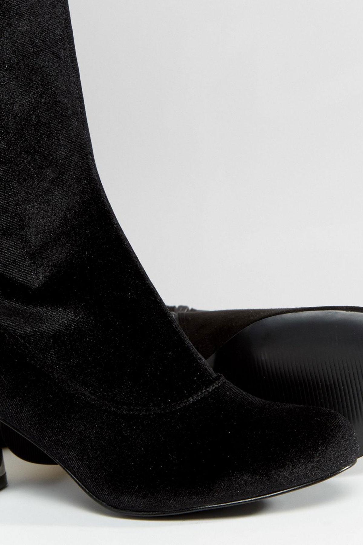 Cizme peste genunchi din catifea Truffle Round Heel Velvet