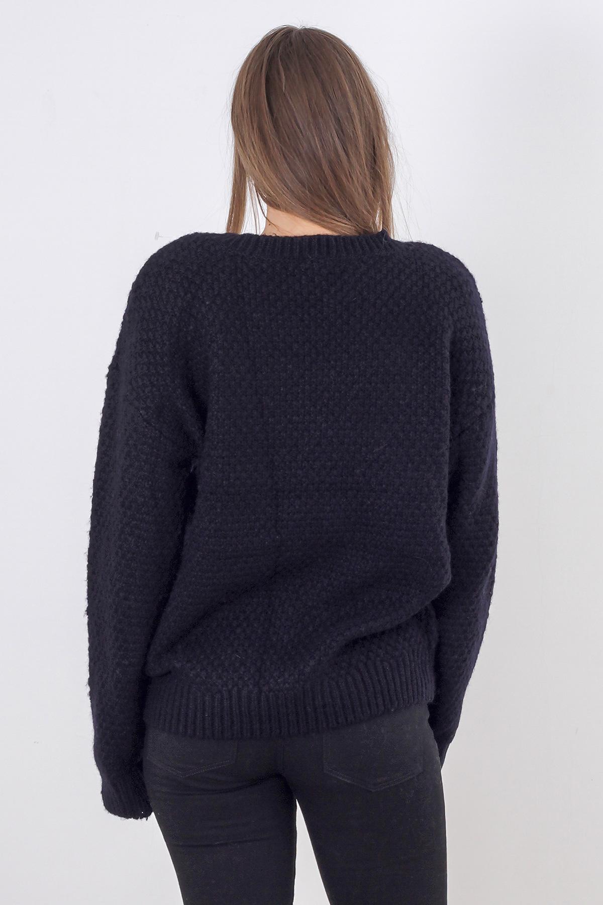 Pulover tricotat negru Pimkie
