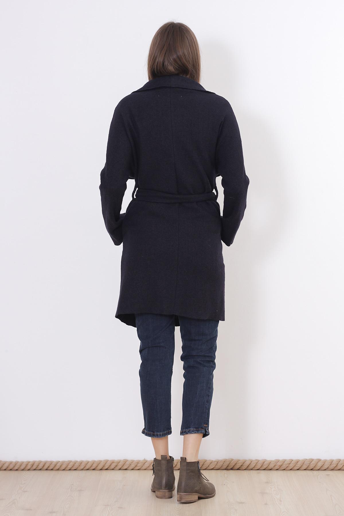 Palton bleumarin cu cordon Zara