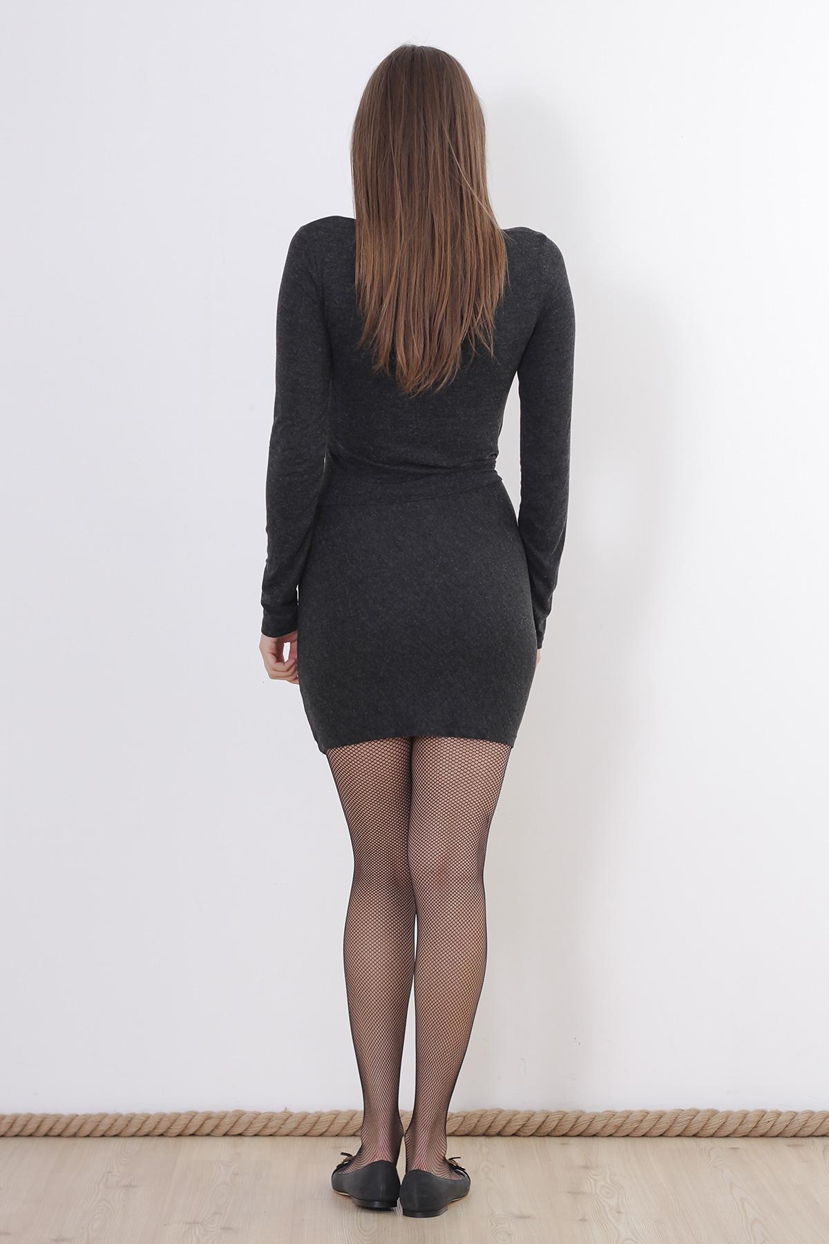 Rochie gri mulata cu maneca lunga Zara