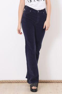 Pantaloni din catifea reiata bleumarin Cheap Monday