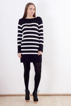Rochie - pulover alb-negru Pimkie