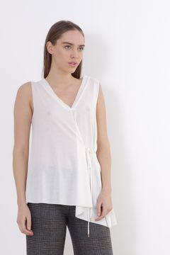 Bluza alba semi-transparenta fara maneci Zara
