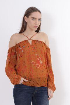 Bluza portocalie imprimata fara umeri Zara