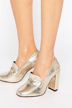Pantofi Asos Pamela Heeled Gold